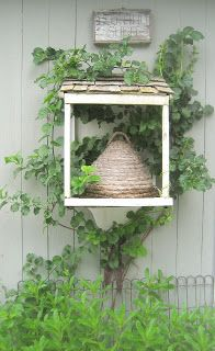 Bee skep--->cool idea to encourage bees at your garden/flowers Insure all materials and plants are NEONIC FREE.  www.beehabitat.com