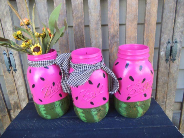 Watermelon Summer Watermelon Mason Jar Hand by RagsandBerries