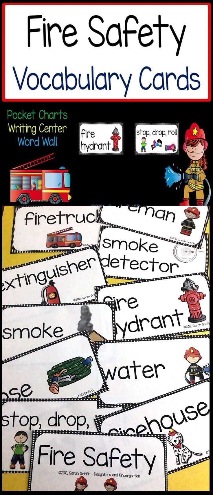 Fire Safety Word and Picture Cards | Vocabulary | Fire Prevention Week | Writing Center | ESL | ELL | Focus Wall | PreK | Kindergarten | First grade | second grade
