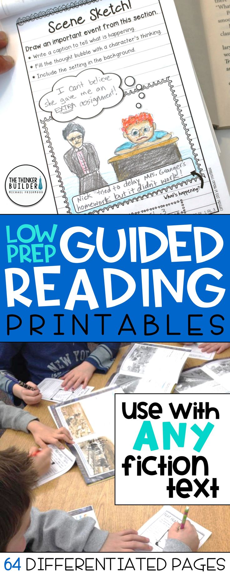 An extensive collection of reading response pages, differentiated at three levels, with tons of options for virtually any fiction text. Designed in a handy half-page reader's notebook style. Perfect for guided reading, book clubs, and practicing key reading skills. $(Gr 2-5) Or bundle with the Informational Text response pages here: https://www.teacherspayteachers.com/Product/BUNDLE-Readers-Notebook-Response-Pages-HALF-PAGE-SET-1065128