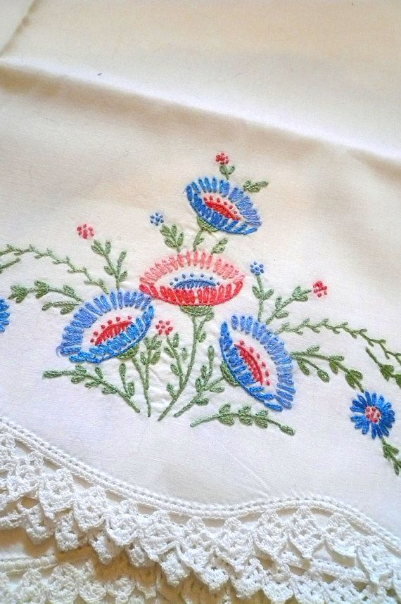 Vintage Hand Embroider Pillowcases Floral by VintageReinvented
