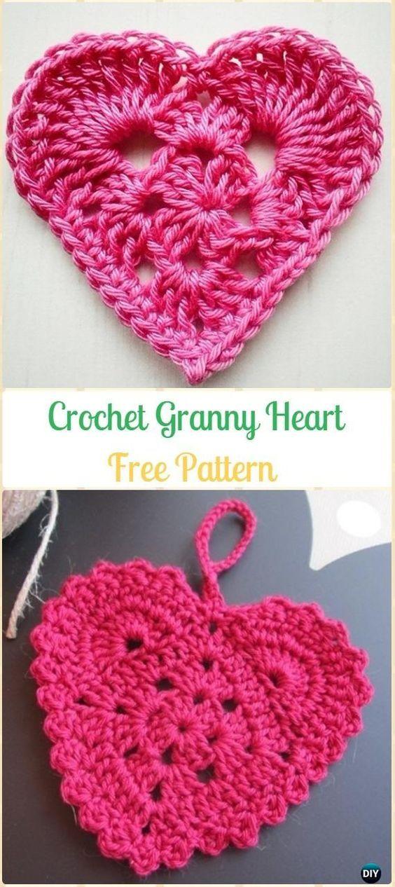 Crochet Granny Heart Free Pattern-Crochet Heart Applique Free Patterns