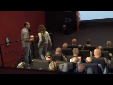 Some unsuspecting couples walk into a movie theater only to see two available seats surrounded by biker gang members. Social experiment by Carlsberg. Funny :)