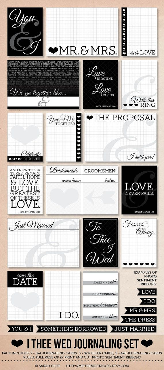 I Thee Wed Modern Wedding Project Life by mistermostaccio, $8.00