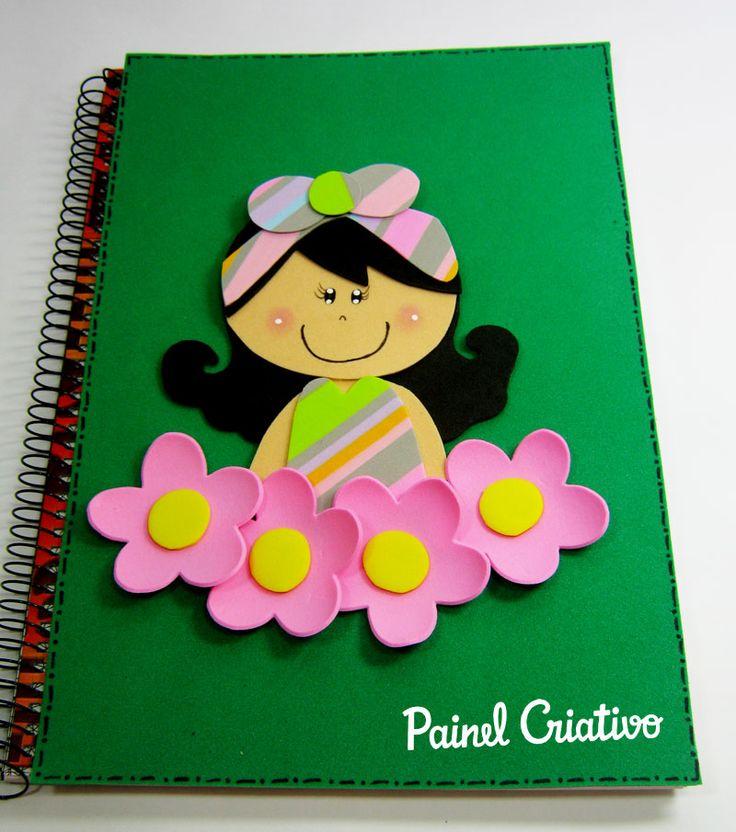 como fazer capa de caderno agenda diario eva meninas escola  (3)