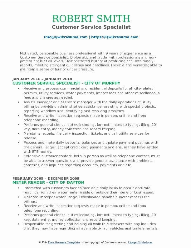 Customer Support Specialist Resume Inspirational Customer Service Specialist Resume Samples Resume Guru Riwayat Hidup Sdlc