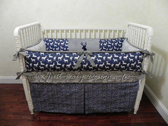 Custom Baby Bedding Set Silas -  Boy Baby Bedding, Navy Deer, Gray Arrows