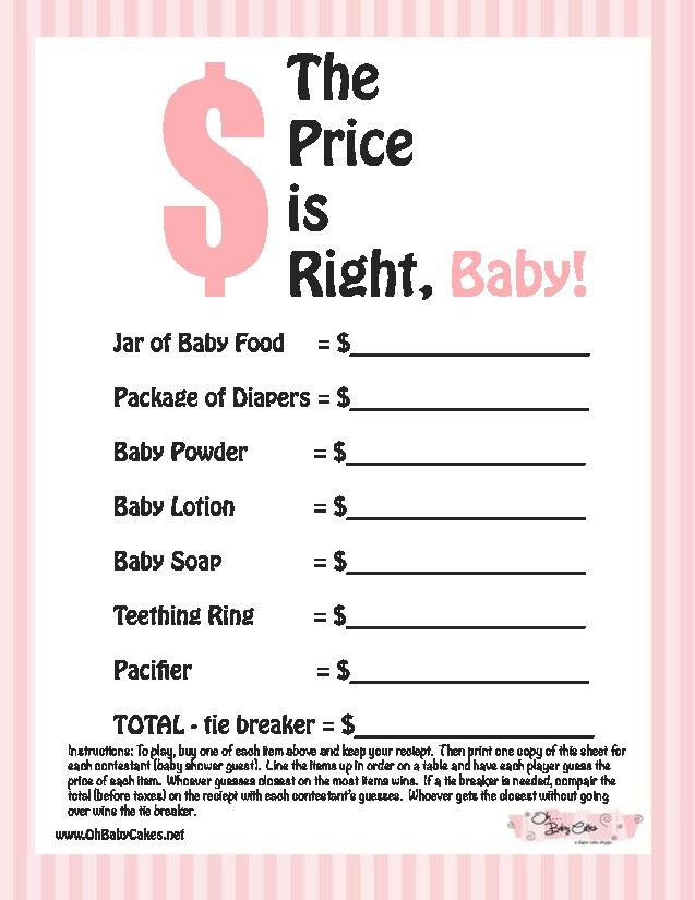 The Price is Right Baby Shower Game - This is not the greatest resolution, but could easily be remade.