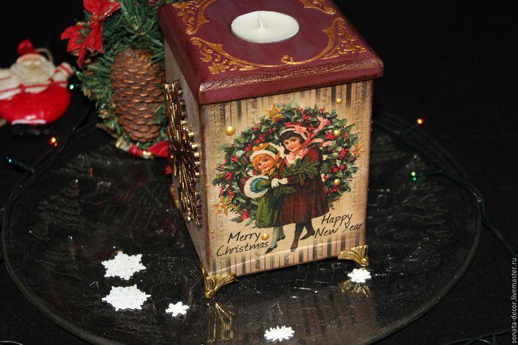 """Купить Винтажный подсвечник-короб """"В преддверии рождества"""" - комбинированный, подсвечник, подсвечник-короб"""