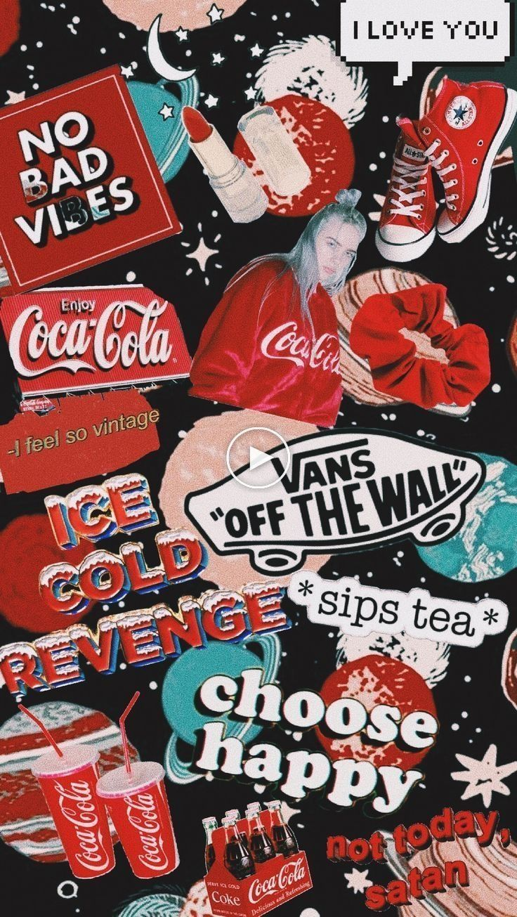 Cocacola Billieeilish Vans Red Aesthetic Collage Wallpaper Iphone Wallpaper Vintage Wallpapers Vintage Cute Wallpapers