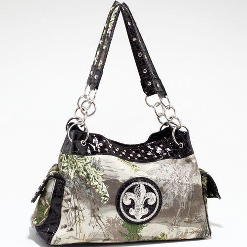 Real Tree (R) camouflage Fleur de Lis accent shoulder bag handbag - Black Q311-EM-RT1-52830A MAX1/BK1