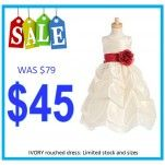 Ivory Rouched Ball Flower Girl Dress: CLEARANCE