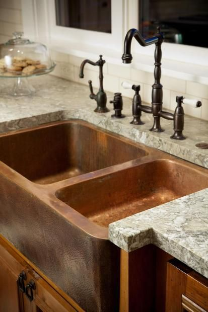 Love the Copper Sink with farmhouse faucet, and rustic iron pulls for cabinets! use with custom concrete countertops though so can pick color/style #cultivateit---i'd go with granite counter tops because I love rocks....just saying