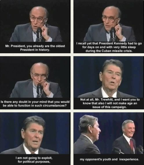"Ronald Reagan, deflecting ""the age issue"" during a debate between the President and Former Vice President Walter F. Mondale in Kansas City, Missouri, on October 21, 1984"