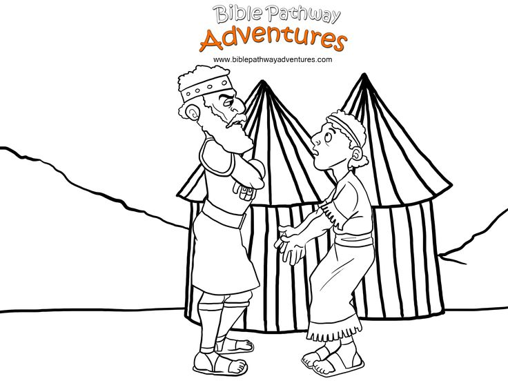 A Coloring Page For Kids From The Story Facing The Giant Will King Saul Let David Fight The