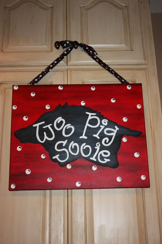 Woo Pig Sooie Arkansas Razorback Canvas Painting 16 x 20 inches