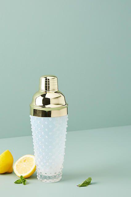 Anthropologie Hobnail Glass Cocktail Shaker