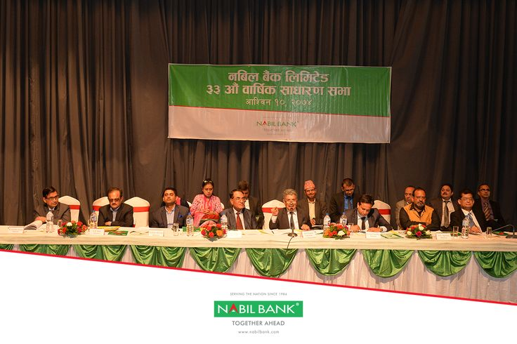 The 33rd Annual General Meeting of Nabil Bank held on Asoj 10, 2074 (September 26, 2017) under the chairmanship of Mr Shambhu Prasad Poudyal approved 18% cash dividend and 30% bonus shares as already recommended by the Board of Directors of the Bank and approved by Nepal Rastra Bank.