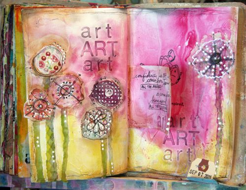 I love all the texture and color in this page! Watching the video that Donna Downey created of her making this page will give you lots of art inspiration! http://donnadowney.typepad.com/simply_me/2011/09/ins.html