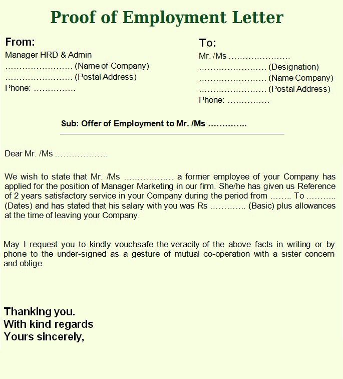 Letter Proof Of Employment from i.pinimg.com