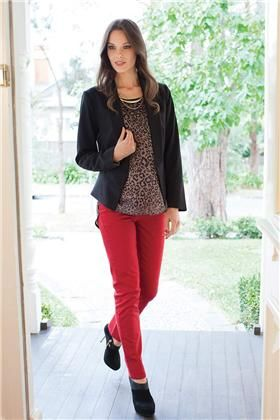 Red Jeans  Black Jacket  Animal Print Top  Capsule Jacket  Fully lined  Polyester/rayon/spandex  Black  Size: 6 to 28  $139.95    Sprite Top  Polyester  Black  Size: 6 to 28  $72.95    Mandy Skinny Jeans  Cotton/elastane  Burgundy, Green, Red  Size: 6 to 26  $79.95