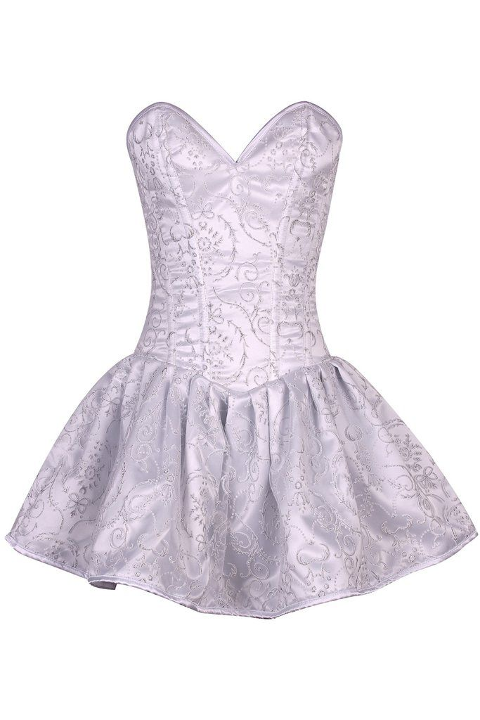 Top Drawer Regal White Steel Boned Corset Dress