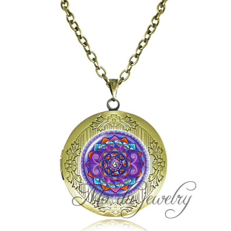 Ом символ ожерелье аватар искусство мандала мандала кулон античная бронза цепи медальон заявление ожерелье дзен-Буддизм украшения