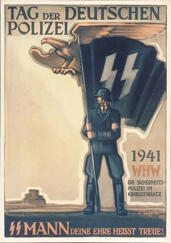 """""""Tag der Deutschen Polizei 1941"""" or """"Day of the German Police 1941"""": by the German artist R. Seyfried, who unfortunately I know nothing about. They were also done as postcards that came in a commemorative pack. """"WHW"""" stands for """"Winterhilfswerk"""" or Winter Relief - literally """"winter help work"""" indicating they were used as donation tools to support the Police fighting in anti-partisan duties behind the Army."""