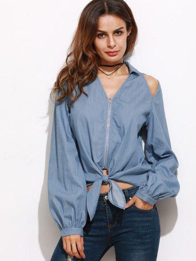 Blusa con abertura en manga y lazo - azul