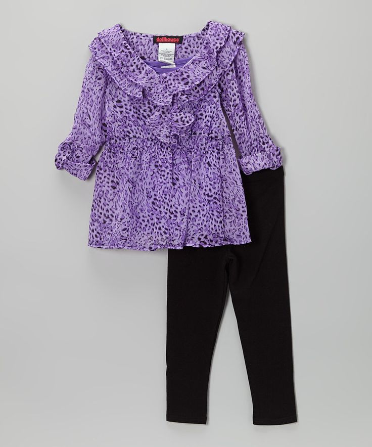 This Purple Jungle Chiffon Tunic & Leggings - Toddler & Girls by Dollhouse is perfect! #zulilyfinds