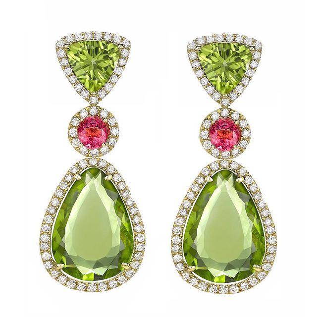 Peridot and Pink Tourmaline with pave diamond drops #kikimcdonough