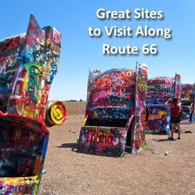 Great Sites to Visit Along Route 66: Starting in Grant Park, Illinois, to the Blue Whale in Catossa, Oklahoma and Cadillac Ranch in Amarillo, Texas. Follow through to the Roadkill Cafe and Wigwam Motels in Arizona, and end at the Santa Monica Pier in Los Angeles, California.