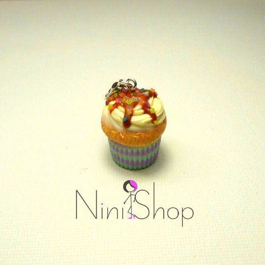 Caramel and sprinkles  Handmade cupcake charm made from polymer clay