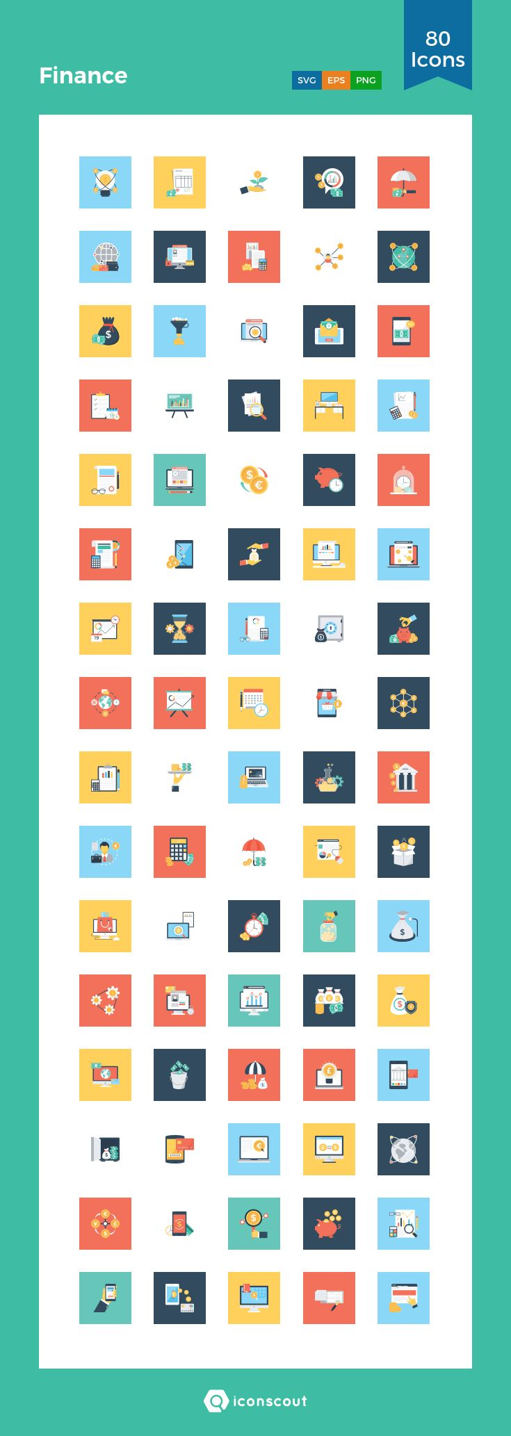 Finance  Icon Pack - 80 Flat Icons