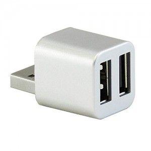 GOOD BUY NY [Cute USB Mini 2-Port USB 2.0 Hub Splitter (Silver Metallic)]