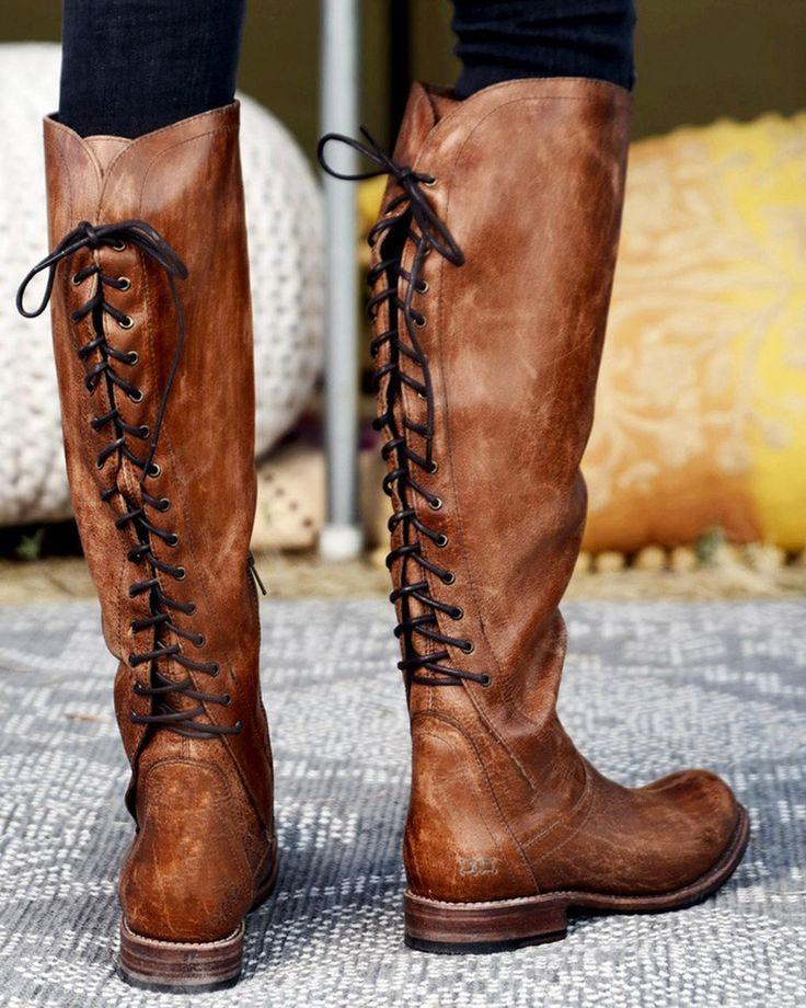 noua versiune magazin de vânzare cel mai bun loc Bed Stu Women's Caramel Surrey Tall Lace Boots - Round Toe   Boots ...