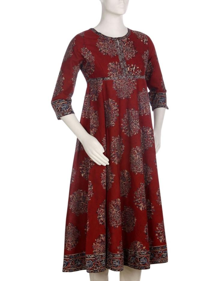Womens Cotton Kalamkari Empire line Anarkali Long Kurta