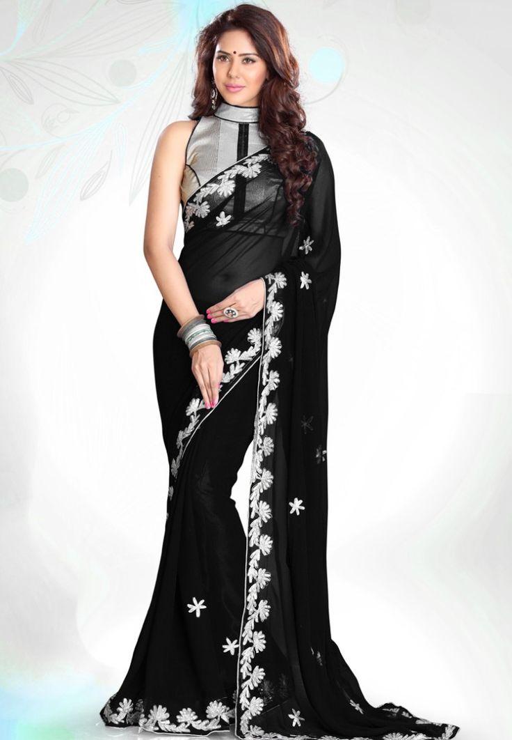 Black Embellished Saree at $81.09 (35% OFF)