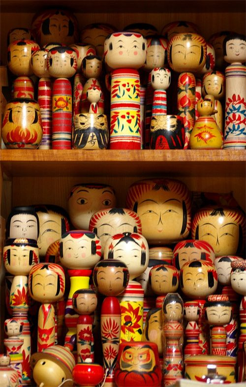 """Traditional"" kokeshi dolls' shapes & patterns are particular to a certain…"