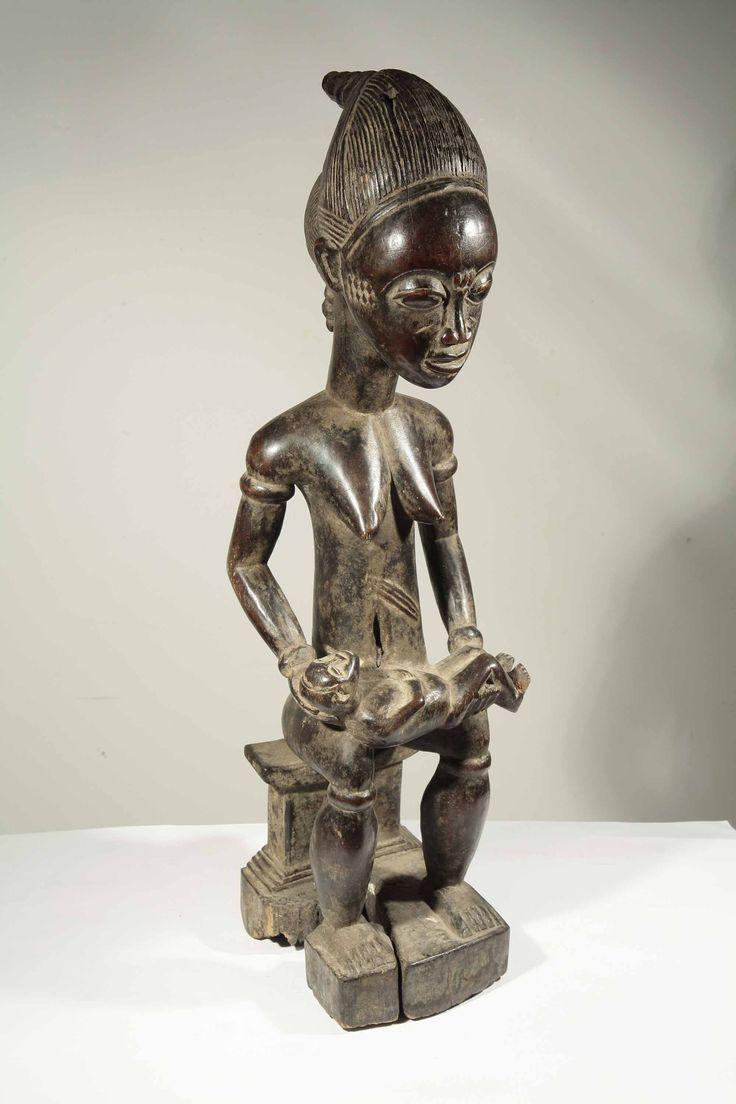 Statue d'une maternité baoulé de Côte d'Ivoire en vente dans la galerie www.Arts-Ethniques.com