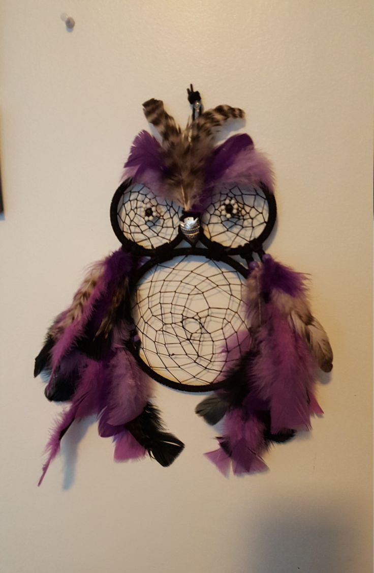 Purple & Black Owl Dream catcher with arrowhead beak with Black And Purple feathers by Marie by FamilyMadeDesigns on Etsy