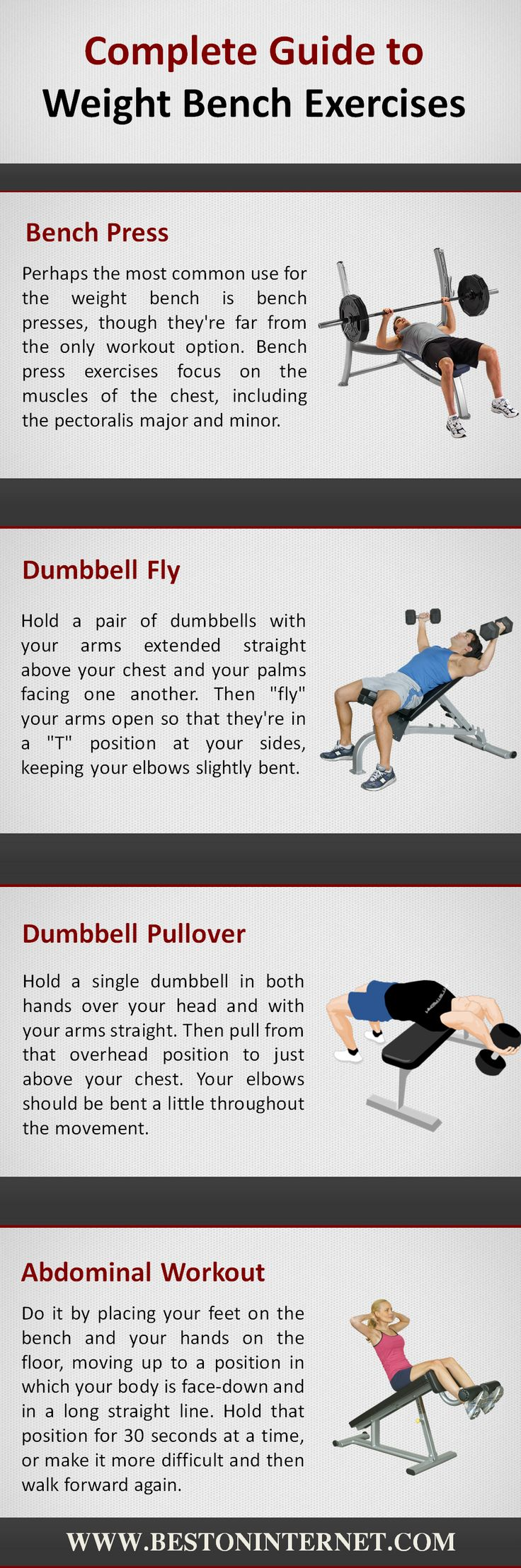 Complete Guide to Weight Bench Exercises  http://www.bestoninternet.com/sports-and-fitness/exercise-fitness-equipment/adjustable-workout-weight-bench/  If you want to do weight exercises, then you can use weight benches. I have listed the types of exercises that you can do with the adjustable #weightbenches.