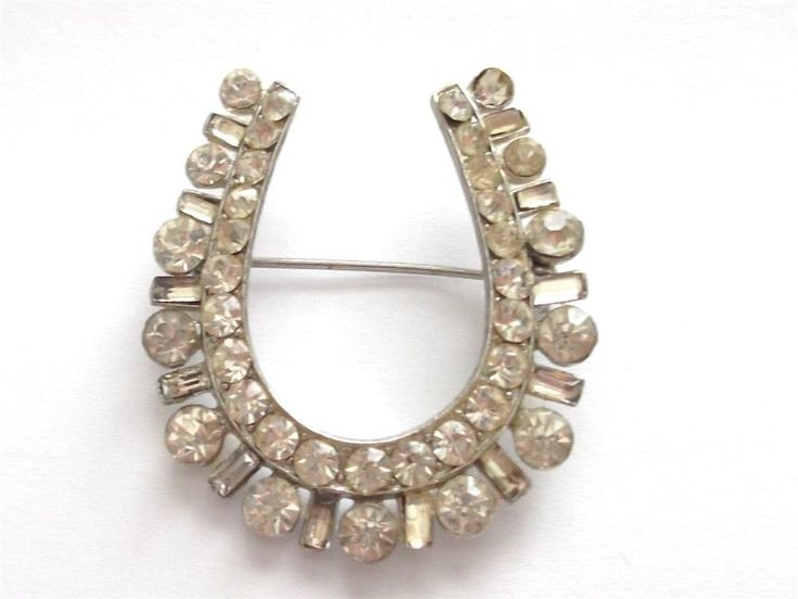 Clear Crystal Lucky Horseshoe Brooch (Silver Tone) 8CLWpis