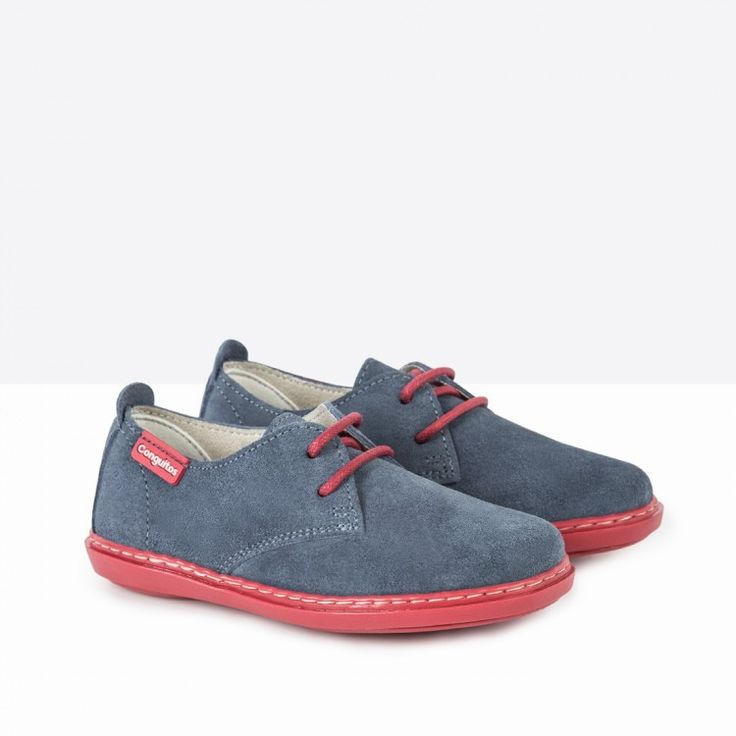 Zapatos de Niño Serraje Contraste Azul - Calzado - Niño - Conguitos #conguitos #niño #shoes #collection #ss18 #zapatos #serraje #azul