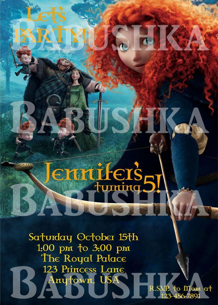 Brave Movie Birthday Party Invitation/ Princess Merida Party Invite/ Princess Party Invitation by BabushkasPrintables on Etsy