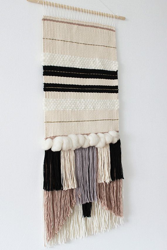 Woven wall hanging | Wall tapestry | Wall decor | Home decor | Wall weaving ivory, cream, grey, black, beige | Fiber art This woven wall hanging