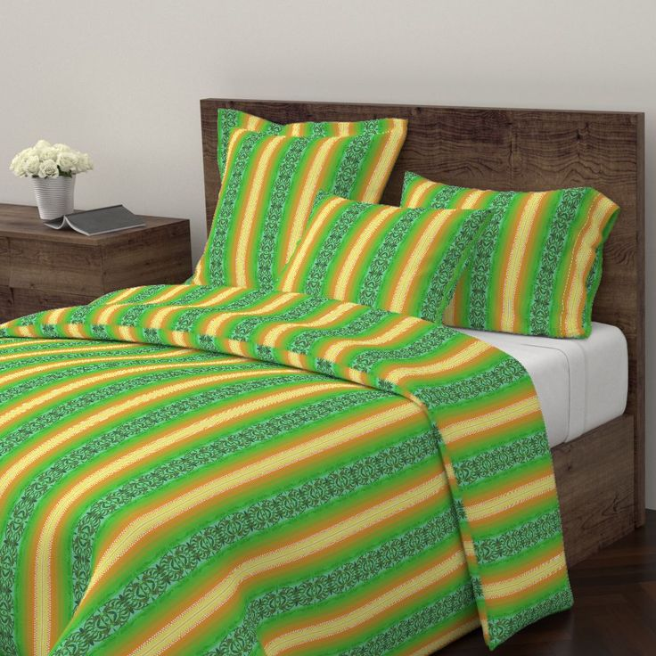 Wyandotte Duvet Cover featuring KELP VIEW 2 STRIPES by joancaronil | Roostery Home Decor