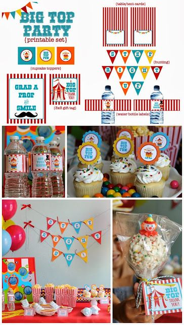 Big Top Party!  With FREE PRINTABLES!  Adorable! #makinglifewhimsical #circus #bigtop