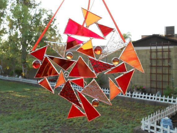 Stained Glass Suncatcher - Red - Orange -  Clear - Abstract