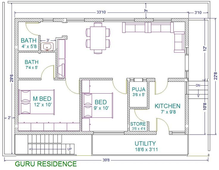 30x40 2 bedroom house plans plans for east facing plot for Bathroom in southwest corner vastu